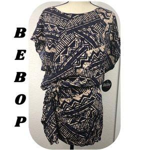 Bebop Wrap Tie Front Aztec Print Dress XLarge
